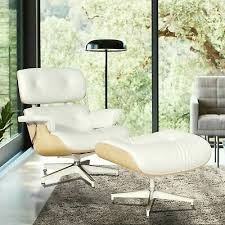 White Genuine Real Leather <b>Eames Lounge</b> Chair and Ottoman ...