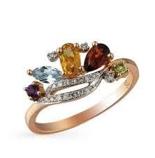 Золотое <b>кольцо с хризолитом</b>, аметистом, топазами, гранатом ...