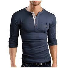 2018 <b>Autumn New</b> Men'S <b>Long Sleeved T Shirt</b> V Neck Button ...