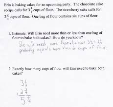 baking cakes students are asked to estimate the sum of two mixed the student s explanation of an estimate is also lacking clarity or is incorrect