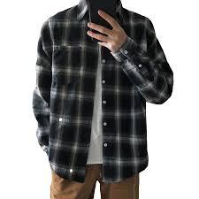 Plaid Shirts Men Casual <b>Japanese</b> Streetwear <b>Long Sleeve Fashion</b> ...