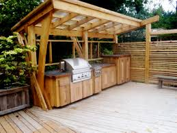 Outdoor Kitchen Astounding Outdoor Kitchen On Wood Deck With Natural Finish Wooden