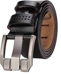 <b>BISON DENIM Men's</b> Leather Belt Genuine Leather Dress Belt ...