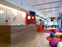 interior awesome google office lobby with colorful beanless bag chair and cool laminated wooden floor amazing office design
