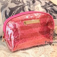 victoria 39 s secret glitter pink stripe make up bag pouch purse wallet
