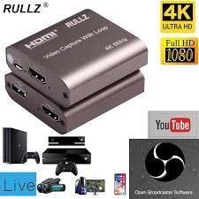 <b>Rullz 4K</b> 60hz Loop Out HDMI <b>Capture</b> Card Audio <b>Video Recording</b> ...