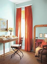 desk archaic curtains curtains blinds window dressing table intense red burnt red home office