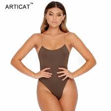 Online Shop Articat Sexy Lace Up <b>Backless Bodysuit</b> Women Cross ...