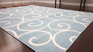 Radiance Art Pattern Collection Contemporary Modern White Light Blue Wool Area Rug Rugs 1051 5u0026392 X 7u0026393  R