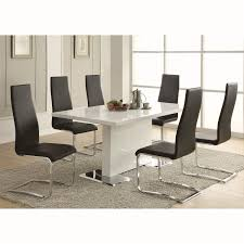 faux leather dining chair black: coaster furniture blk modern dining faux leather dining chair in black with chrome legs set of