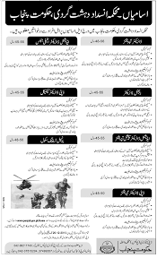 anti terrorist force jobs application form punjab anti terrorist force jobs application form