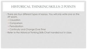 how to write the long essay question ap european history mrs historical thinking skills 2 points there are four different types of essays