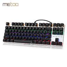 metoo original gaming mechanical keyboard 87 104 keys switch backlit usb wired keyboard blue red black english russian spanish