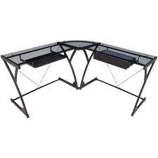 regency seating glass computer corner desk black black glass top corner