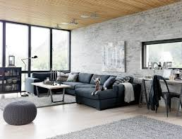 living room amazing living room ideas with black fabric sofa and grey furry rug also nice arc lamp and brick stone wall theme living room decor ideas for amazing living room decor