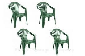 Garden & <b>Patio Furniture</b> 3 X White Plastic <b>Garden Chairs</b> Low Back ...