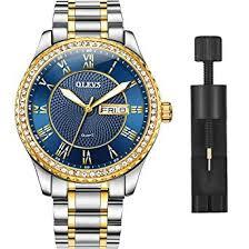 OLEVS Luxury Diamond Deep Blue Watches for Men ... - Amazon.com