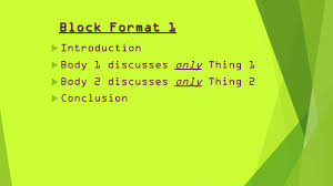 compare and contrast essays inform reader about the 3 block format 1 61557 introduction 61557 body 1 discusses only thing 1 61557 body 2 discusses only thing 2 61557 conclusion