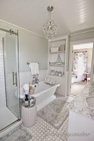 small bathroom chandelier crystal ideas: diy master bathroom with pedestal tub chandelier and built ins wwwgoldenboysandme