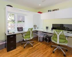 beautiful home office furniture inspiring decoration an inspiring cantilivered desk space for two with green swivel amazing modern home office inspirational