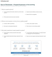 quiz worksheet prepaid expenses in accounting study com print prepaid expenses in accounting definition examples worksheet