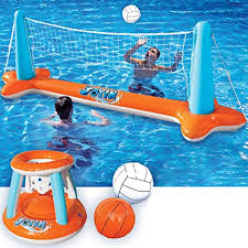 Inflatable Pool Float Set Volleyball Net & Basketball ... - Amazon.com