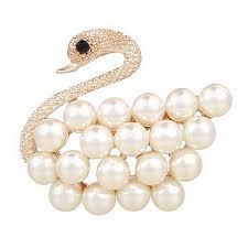 Hot Highlight pearl elegant golden <b>swan</b> brooch wedding host ...