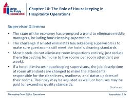 chapter    the role of housekeeping in hospitality operationsmanaging front office operations powerpoint  c