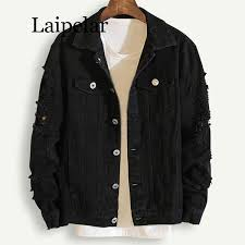 <b>Laipelar</b> Plus Size Loose Ripped Black <b>Denim</b> Jacket <b>Women</b> 4Xl ...