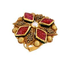 Ruby <b>Gemstone</b> 24k Yellow Gold <b>Fashionable</b> Polki Diamond <b>Ring</b> ...
