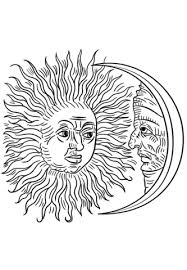 Small Picture Vintage Sun and Moon coloring page Free Printable Coloring Pages