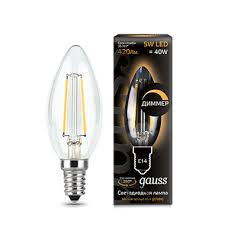 103801105-D <b>Лампа Gauss LED Filament</b> Candle dimmable E14 ...