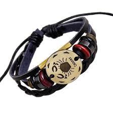 Zodiac Charm <b>Adjustable Vintage Leather Bracelet</b> [12 Variations ...
