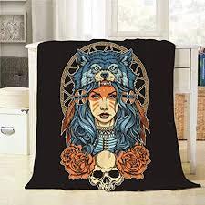 Mugod Throw Blanket Native American Girl with Wolf ... - Amazon.com
