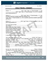 child travel consent form permission letter for medical treatment