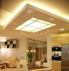 suspended ceiling with both up lighting and a lightbox in the middle for down lighting ceiling up lighting