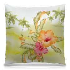 """Подушка 40х40 с полной запечаткой """"<b>Тропические цветы</b>, <b>пальмы</b>"""""""