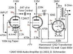power supply schematic for 6l6 5881 single ended se tube amp dave schmarder s 2 tube audio amplifier schematic