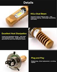 <b>1Pcs</b> 12W <b>H4</b> LED Motorcycle Headlight Bulbs White <b>6500K</b> Fog ...