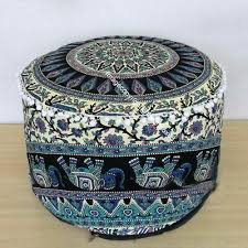 Chequered Animal <b>Print</b> Fabric <b>Footstool</b> Farmhouse Style Ottoman ...
