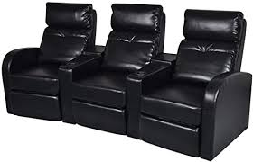 vidaXL Black Artificial Leather 3-Seat Home Theater ... - Amazon.com