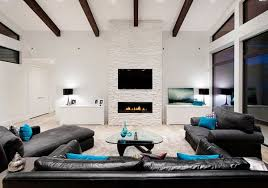living room aqua view in gallery minimalist living room in black and white with turquoi
