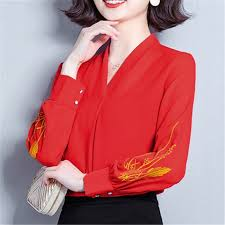 2019 New <b>Fashion Autumn Women</b> Blouses And Tops <b>Chiffon</b> Solid ...