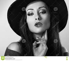 <b>Hot Female</b> Model With <b>Bright</b> Makeup And Red Lipstick In Bla Stock ...