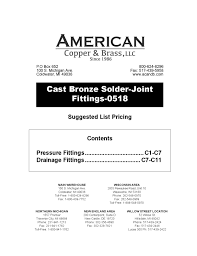 Cast Bronze Solder-Joint Fittings by American <b>Copper</b> and Brass ...
