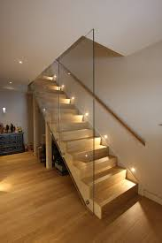 stairway lighting staircase contemporary with balustrade basement contemporary staircase glass balustrade glass basement stairwell lighting