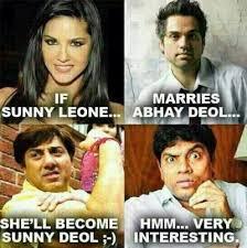 If Sunny Leone Marries Abhay Deol - Bollywood Memes via Relatably.com