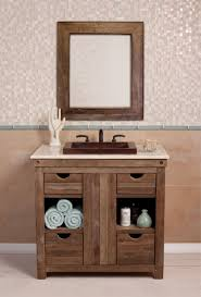 rustic bathroom vanity sink with linen cabinet storage made of oak wood without stained added square brown bathroom furniture