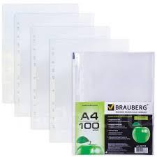 <b>Папки</b>-<b>файлы перфорированные</b>, А4, <b>Brauberg</b>, комплект 100 шт ...
