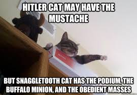 Hitler cat may have the mustache But snaggletooth cat has the ... via Relatably.com